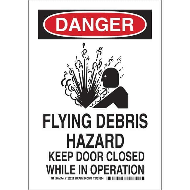 Brady Aluminum Sign: DANGER - FLYING DEBRIS HAZARD. KEEP DOOR CLOSED WHILE