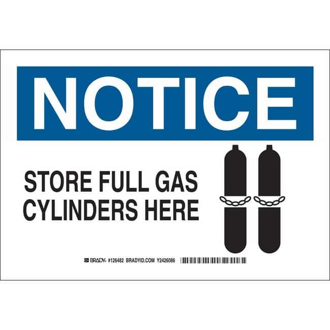 Brady Aluminum Sign: NOTICE - STORE FULL GAS CYLINDERS HERE 10 x 14 in.:Gloves,