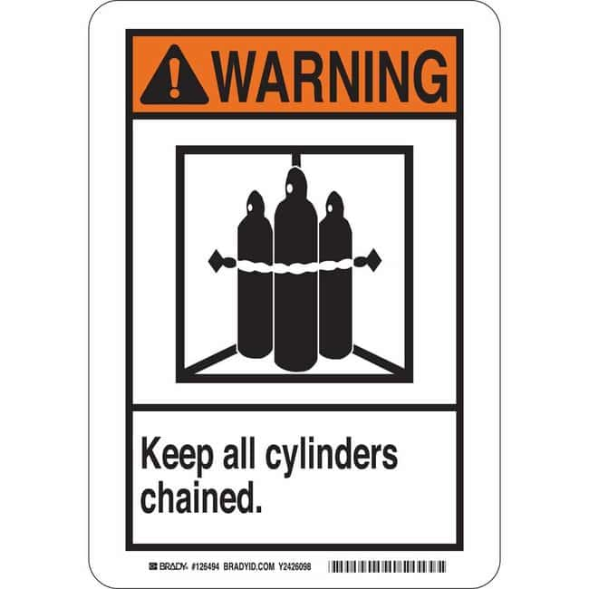 Brady Polystyrene Sign: WARNING - KEEP ALL CYLINDERS CHAINED. 14 x 10 in.:Gloves,