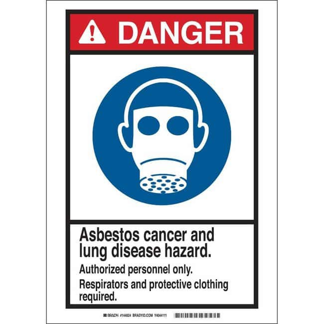 Brady Polystyrene Sign: DANGER: ASBESTOS CANCER AND LUNG DISEASE HAZARD.