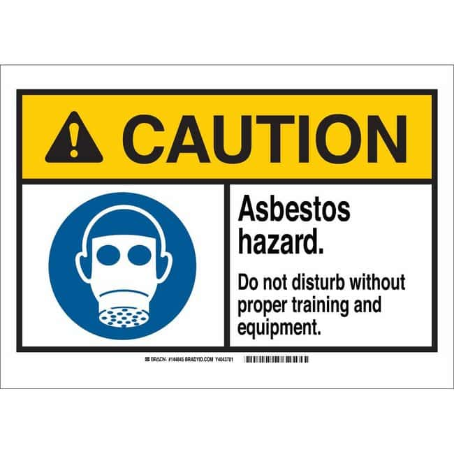 Brady Polyester Sign: ASBESTOS. HAZARDOUS. DO NOT DISTURB WITHOUT PROPER