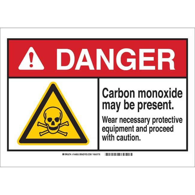 Brady Polyester Sign: DANGER: CARBON MONOXIDE MAY BE PRESENT. WEAR NECESSARY