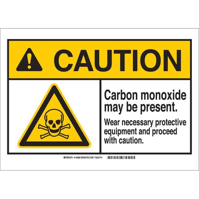 Brady Polyester Sign: WARNING: CARBON MONOXIDE MAY BE PRESENT. WEAR NECESSARY