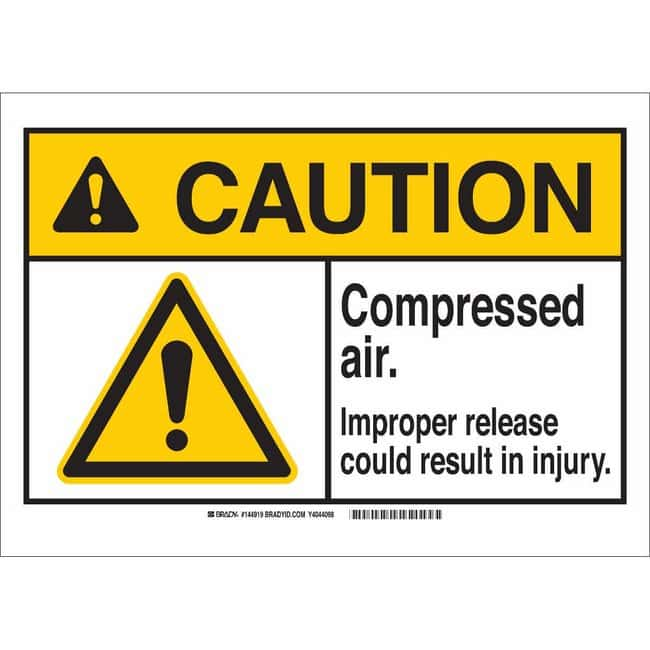 Brady Aluminum Sign: COMPRESSED AIR. IMPROPER RELEASE COULD RESULT IN INJURY.