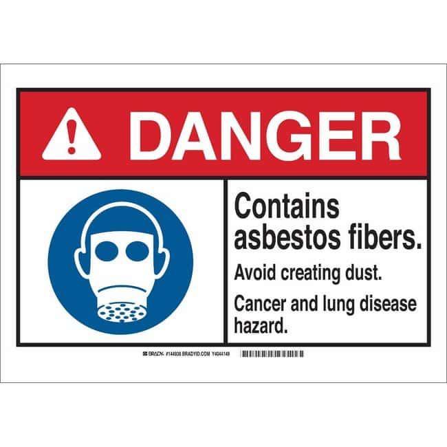 Brady Aluminum Sign: CONTAINS ASBESTOS FIBERS. AVOID CREATING DUST. CANCER