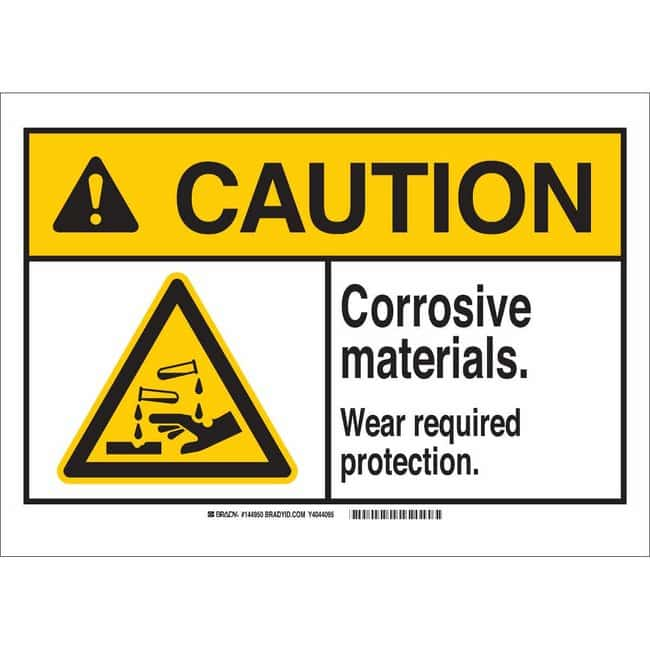 Brady Polyester Sign: CORROSIVE MATERIALS. WEAR REQUIRED PROTECTION. 7