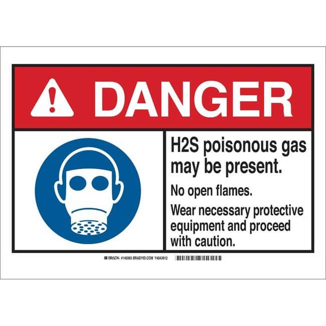 Brady Poly Sign: DANGER: H2S POIS. GAS MAY BE PRESENT. NO OPEN FLAMES.