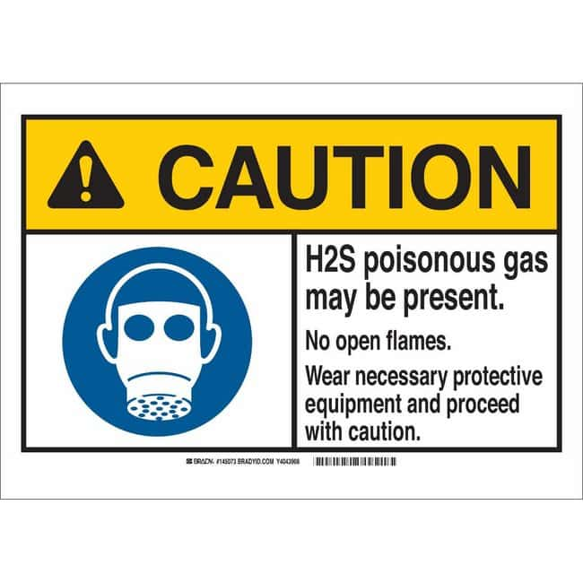 Brady Alum Sign: CAUTION: H2S POIS. GAS MAY BE PRESENT. NO OPEN FLAMES.