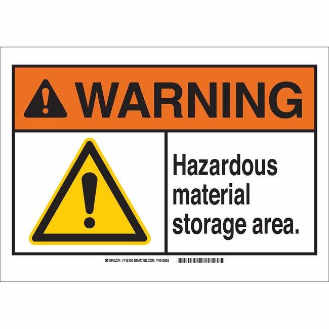Brady Aluminum Sign: HAZARDOUS MATERIAL STORAGE AREA 7 x 10 in.:Gloves,