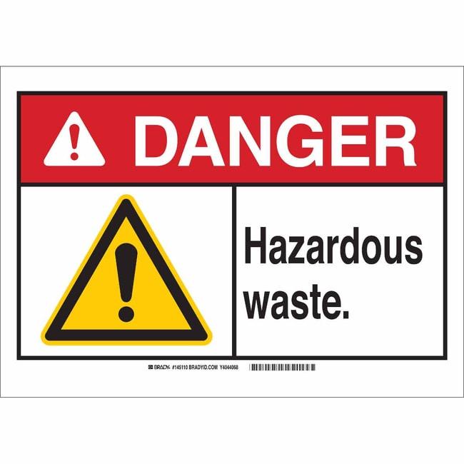 Brady Aluminum Sign: DANGER - HAZARDOUS WASTE 7 x 10 in., Caution Picto:Gloves,