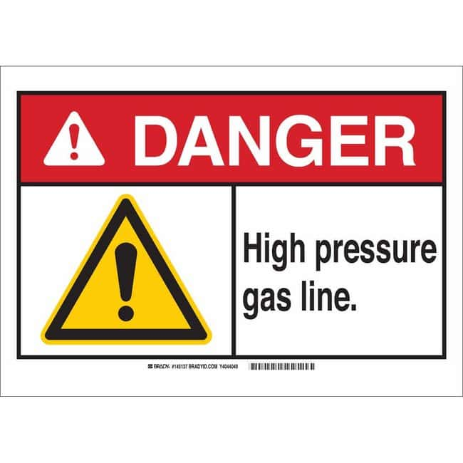 Brady Polyester Sign: HIGH PRESSURE GAS LINE. 7 x 10 in.:Gloves, Glasses