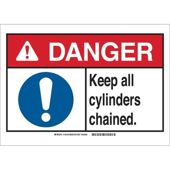 Brady Aluminum Sign: DANGER - KEEP ALL CYLINDERS CHAINED 10 x 14 in.:Gloves,
