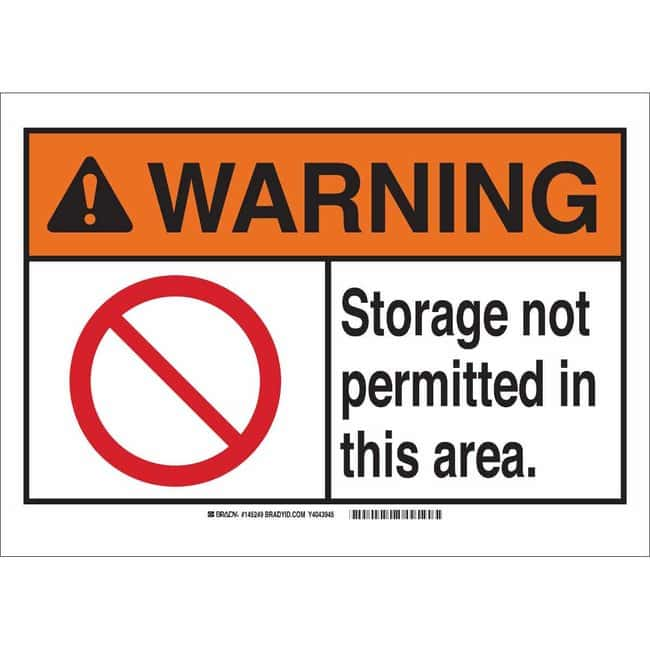 Brady Aluminum Sign: STORAGE NOT PERMITTED IN THIS AREA.:Gloves, Glasses