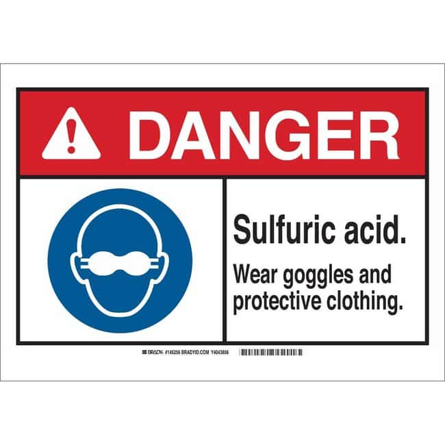 Brady Aluminum Sign: SULFURIC ACID. WEAR GOGGLES AND PROTECTIVE CLOTHING.