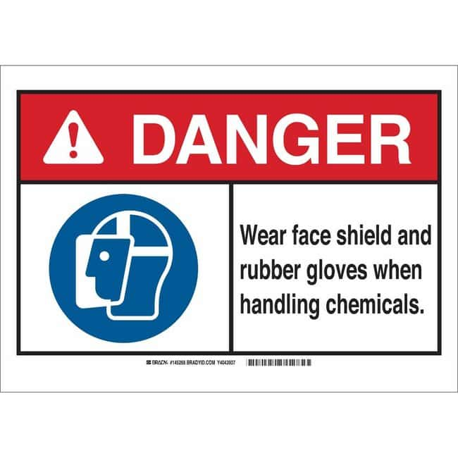 Brady Polystyrene Sign: WEAR FACE SHIELD AND RUBBER GLOVES WHEN HANDLING