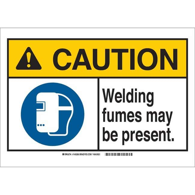 Brady Polyester Sign: WELDING FUMES MAY BE PRESENT. 7 x 10 in.:Gloves,