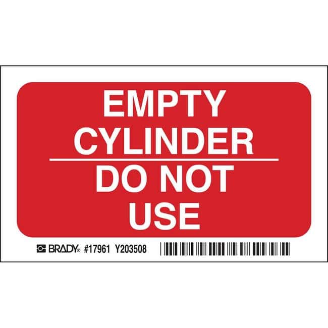 Brady Polyester Sign: EMPTY CYLINDER DO NOT USE Polyester Sign: EMPTY CYLINDER
