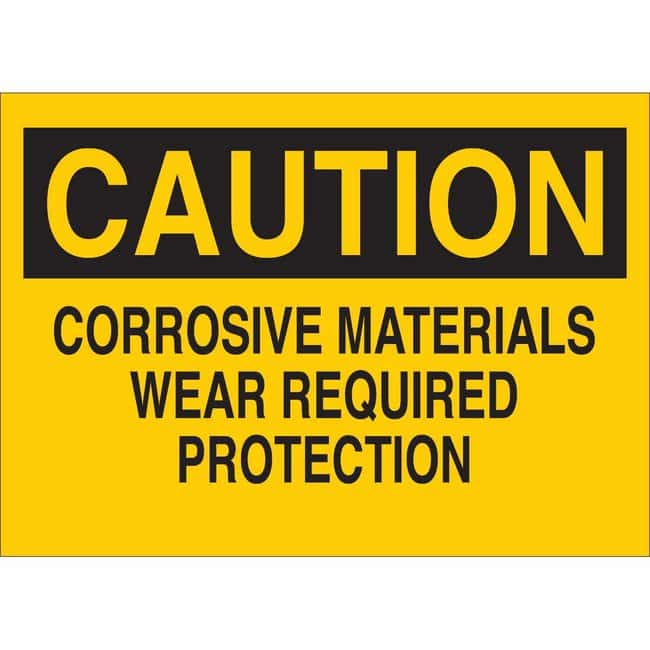 Brady Polystyrene Sign: CAUTION - CORROSIVE MATERIALS. WEAR REQUIRED PROTECTION.