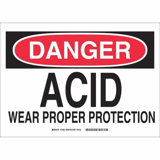 Brady Polystyrene Sign: DANGER - ACID. WEAR PROPER PROTECTION 10 x 14 in.:Gloves,