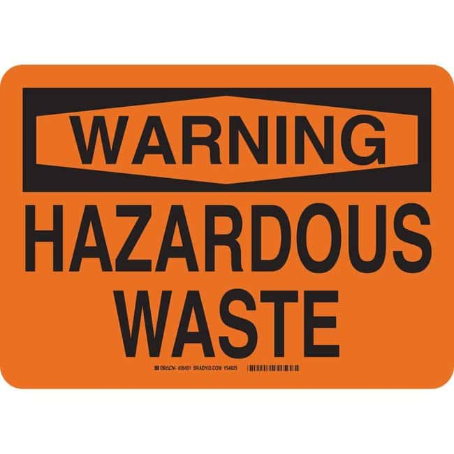 Brady Polystyrene Warning Sign: HAZARDOUS WASTE 14 in. x 10 in.:Gloves,