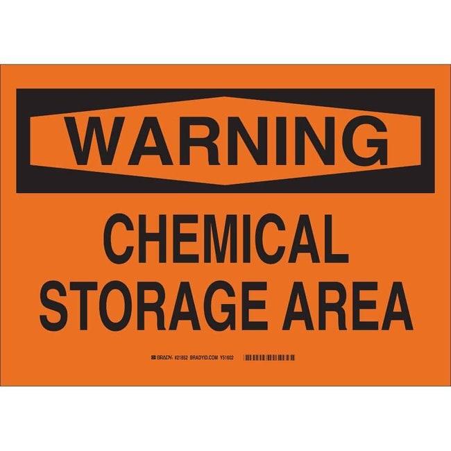 Brady Polystyrene Warning Sign: CHEMICAL STORAGE Non-adhesive; Corner holes:Gloves,