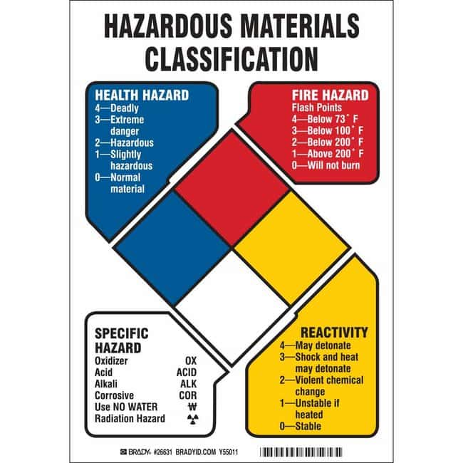 Brady Polyethylene Sign: HAZARDOUS MATERIALS CLASSIFICATION HEALTH HAZARD