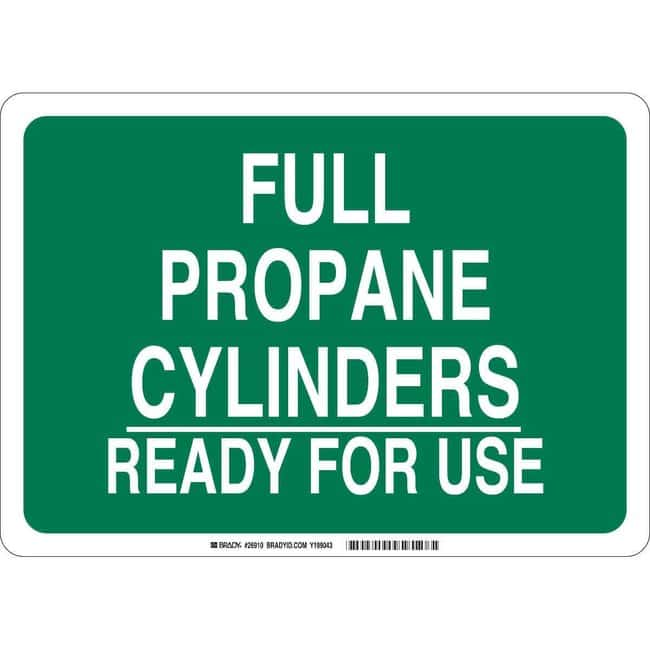Brady Polyethylene Sign: FULL PROPANE CYLINDERS READY FOR USE Polyethylene