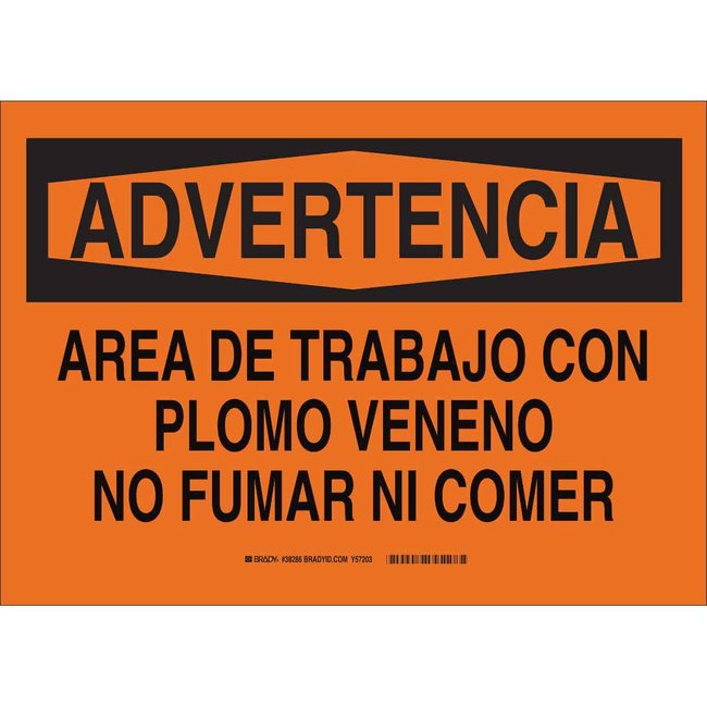 Brady Polyester Warning Sign: LEAD WORK AREA NO Black on orange; Cold temperature