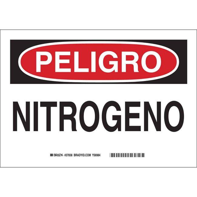 Brady Polyester Danger Sign: NITROGEN Black/red on white; Cold temperature