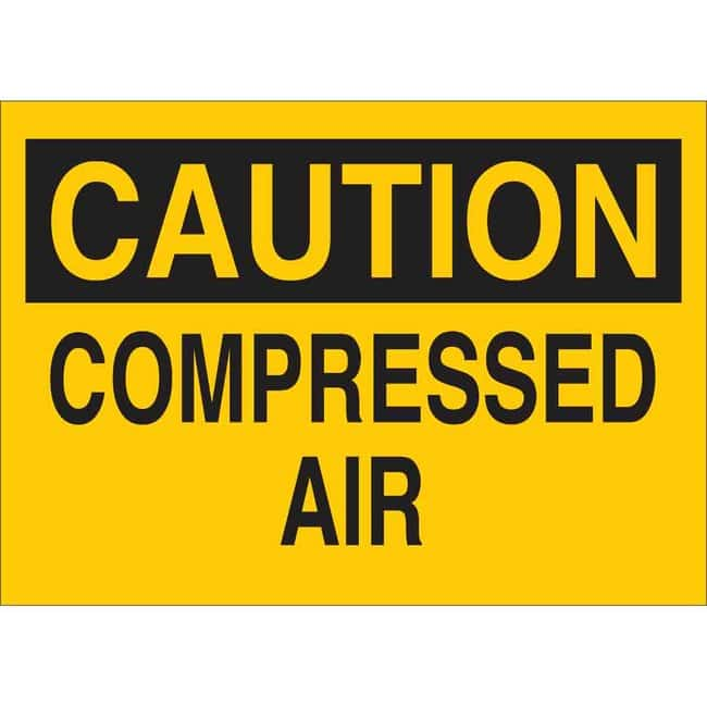 Brady Aluminum Sign: CAUTION - COMPRESSED AIR 10 x 14 in.:Gloves, Glasses
