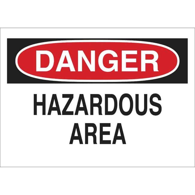 Brady Aluminum Sign: DANGER - HAZARDOUS AREA 10 x 14 in., Without Picto:Gloves,