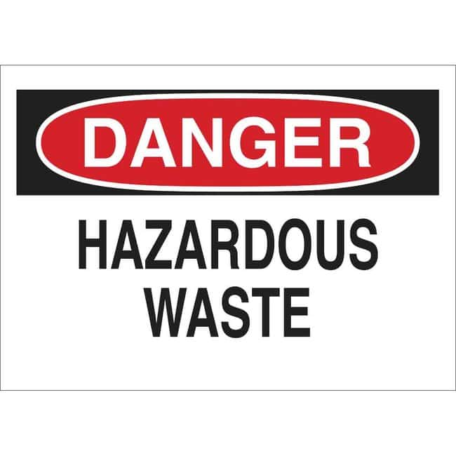 Brady Aluminum Sign: DANGER - HAZARDOUS WASTE 10 x 14 in., Without Picto:Gloves,