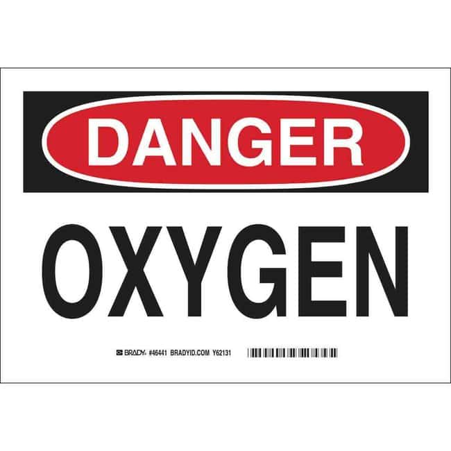 Brady Aluminum Sign: OXYGEN Aluminum Sign: OXYGEN:Gloves, Glasses and Safety