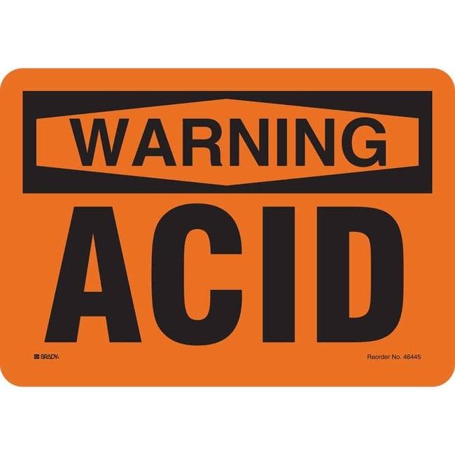 Brady Fiberglass Caution Sign: ACID Non-adhesive; Corner holes:Gloves,