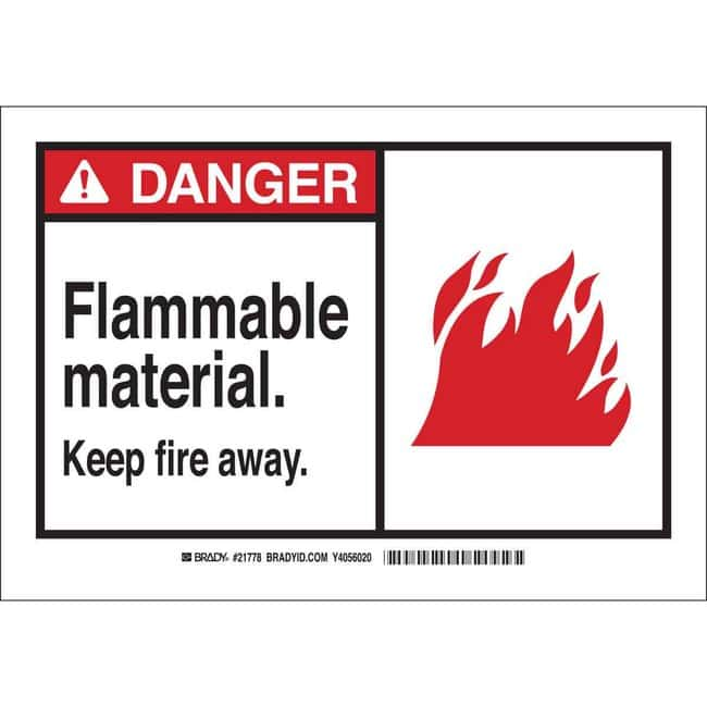 Brady Polyester Danger Sign: FLAMMABLE MATERIAL KEEP FIRE AWAY Black/red