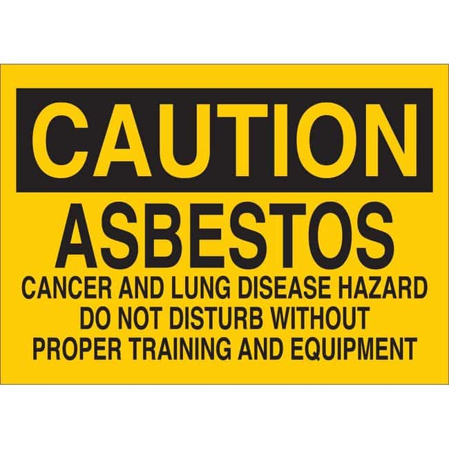 Brady Polyester Sign: ASBESTOS - CANCER AND LUNG DISEASE HAZARD. DO NOT