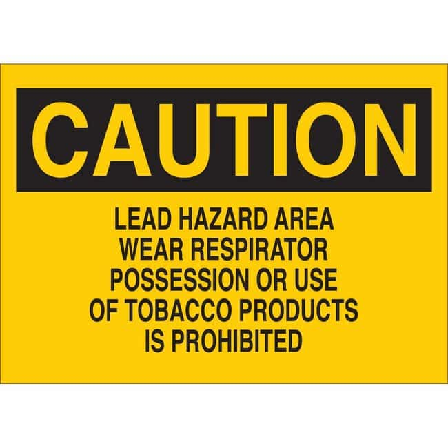Brady Polyester Sign: LEAD HAZARD AREA WEAR RESPIRATOR POSSESSION OR USE