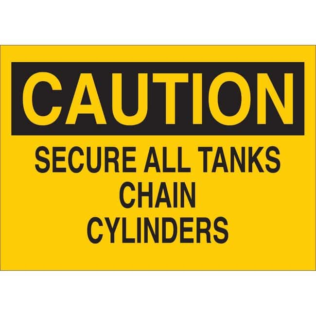 Brady Polyester Sign: SECURE ALL TANKS - CHAIN CYLINDERS 7 x 10 in., Black