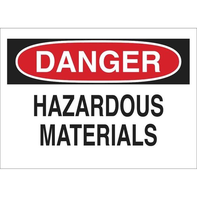 Brady Aluminum Sign: DANGER - HAZARDOUS MATERIALS Aluminum Sign: DANGER