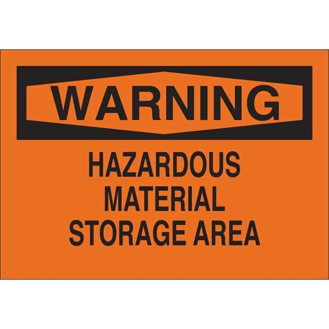 Brady Aluminum Sign: WARNING - HAZARDOUS MATERIAL STORAGE AREA:Gloves,