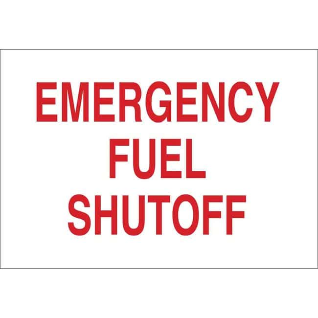 Brady Fiberglass Sign: EMERGENCY FUEL SHUTOFF Fiberglass Sign: EMERGENCY