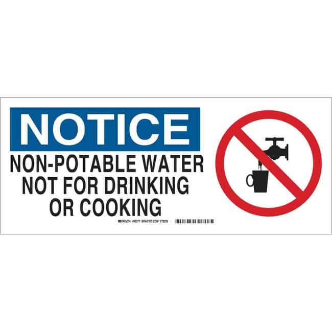 Brady Chemical, Biohazard & Hazardous Material Sign - NOTICE NON-POTABLE