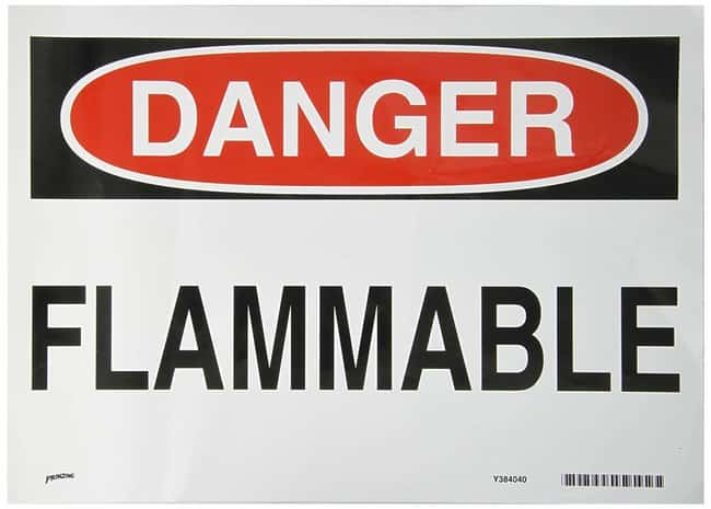 Brady Danger Sign: FLAMMABLE :Gloves, Glasses and Safety