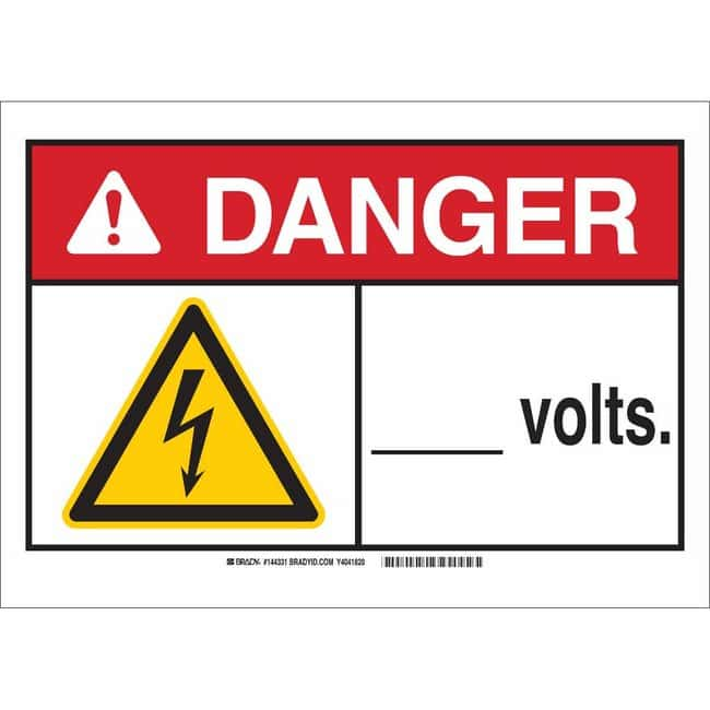 Brady Polystyrene Sign: DANGER ___ VOLTS 7 x 10 in.:Gloves, Glasses and
