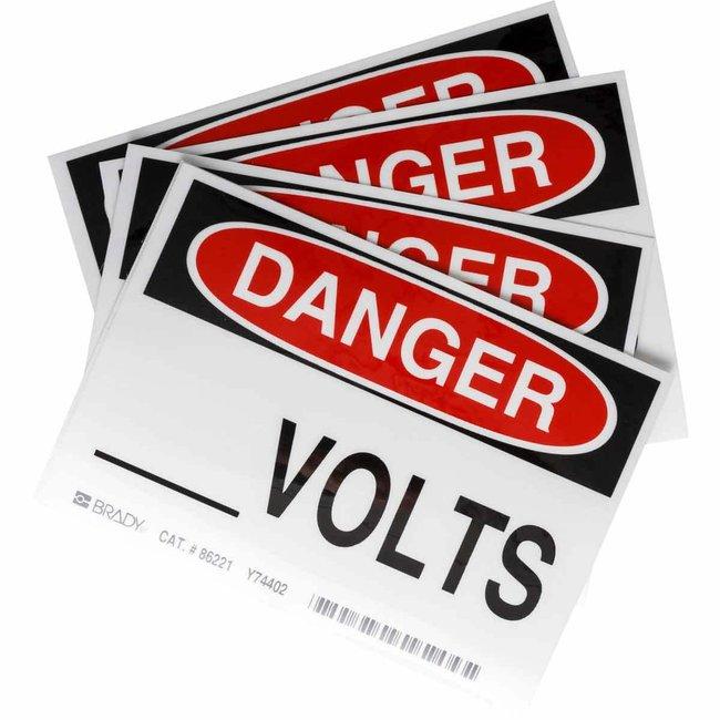 Brady Conduit & Voltage Labels - Self-Sticking Polyester _____ VOLTS, OSHA:Gloves,