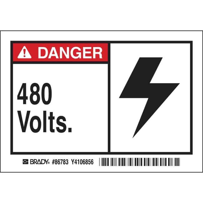 Brady Conduit & Voltage Labels - Self-Sticking Polyester 480 VOLTS:Gloves,