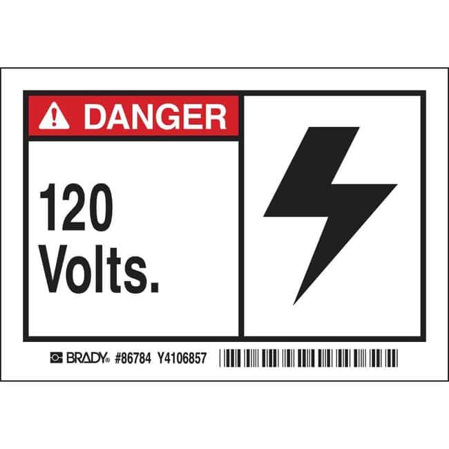 Brady Conduit & Voltage Labels - Self-Sticking Polyester 120 VOLTS:Gloves,