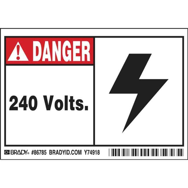 Brady Conduit & Voltage Labels - Self-Sticking Polyester 240 VOLTS:Gloves,