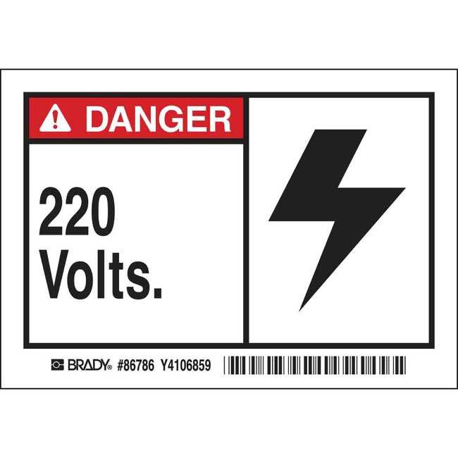 Brady Conduit & Voltage Labels - Self-Sticking Polyester 220 VOLTS:Gloves,