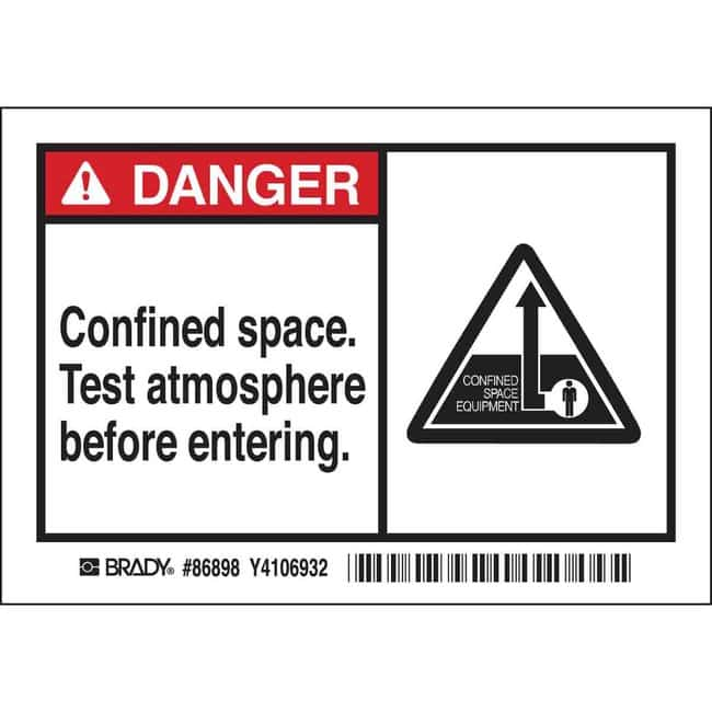 Brady Confined Space Labels - Self-Sticking Polyester - CONFINED SPACE.